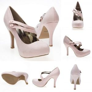 Pink Suede Mary Jane Style Pumps with Low Heel